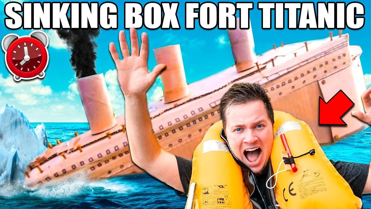 BOX FORT TITANIC SINKING! - 24 Hour Box Fort City Challenge Day 3