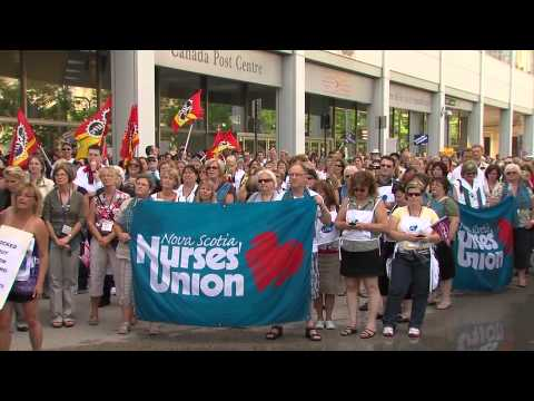 Nurses walk the picket lines with CUPW Postal Workers