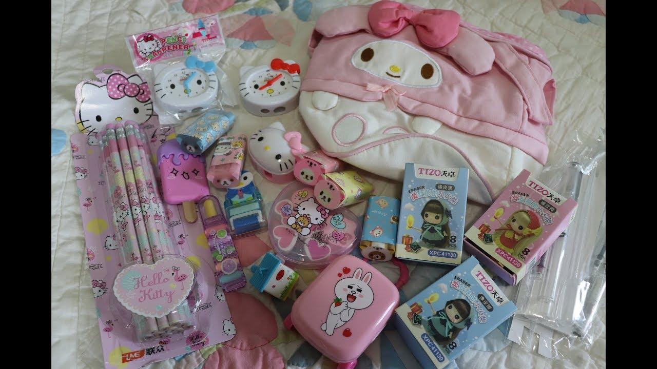 HUGE Kawaii Aliexpress stationery Haul! Hello Kitty My Melody Rilakkuma so many kawaii things!