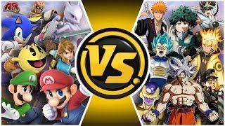 SMASH ULTIMATE vs JUMP FORCE! (Mario & Sonic vs Goku & Naruto TOTAL WAR)   CARTOON FIGHT CLUB EP 300