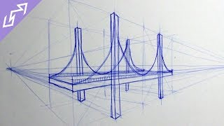 Sketch of the Day #3: Suspension Bridge in 2-Point Perspective (Drawing Time Lapse)