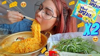 ASMR x2 Cheesy Noodles & Korean Fried Chicken BIG BITES 먹방 MUKBANG FAIL 닭강정