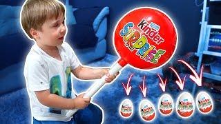 PIRULITO GIGANTE DE OVO KINDER COM BRINQUEDOS E SURPRESAS!! Surprise Eggs Chocolate Kinder Toys 