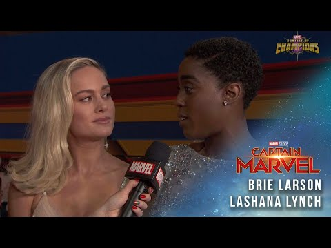 Brie Larson, star of Captain Marvel, and Lashana Lynch LIVE on the Red Carpet!
