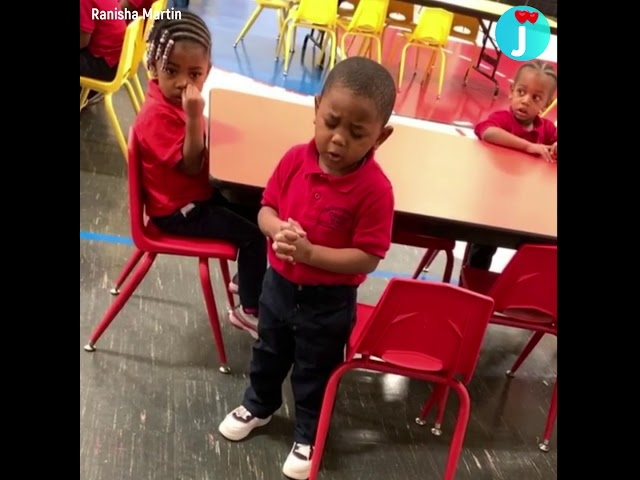 This adorable 3-year-old leading preschool classmates in prayer will warm your heart