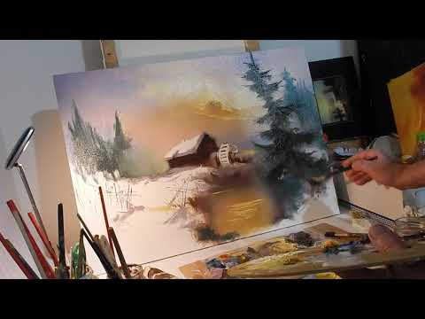 Winter landscape painting in knife technique, painted by Ion Voineagu