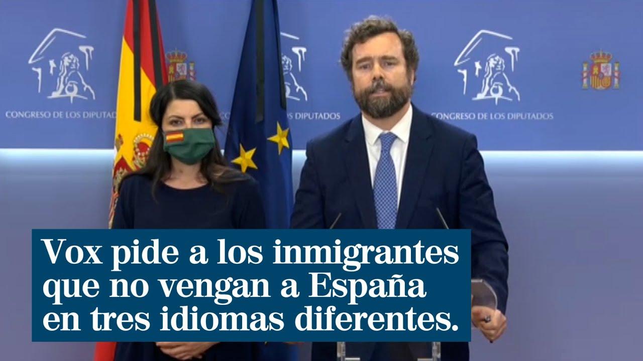 """Vox pide a los inmigrantes que no vengan a España en tres idiomas  diferentes: """"No hay dinero"""" - YouTube"""