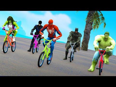 Bicycle Racing - Spider Man & Hulk VS Bat Man & Joker Competitive Challenge thumbnail