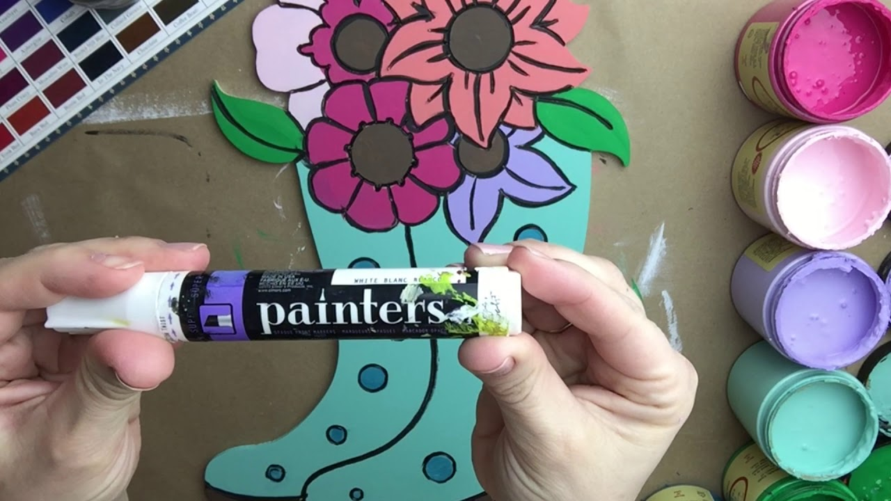 Wooden Flowers in Rain boots, Paintable DIY Craft PBL