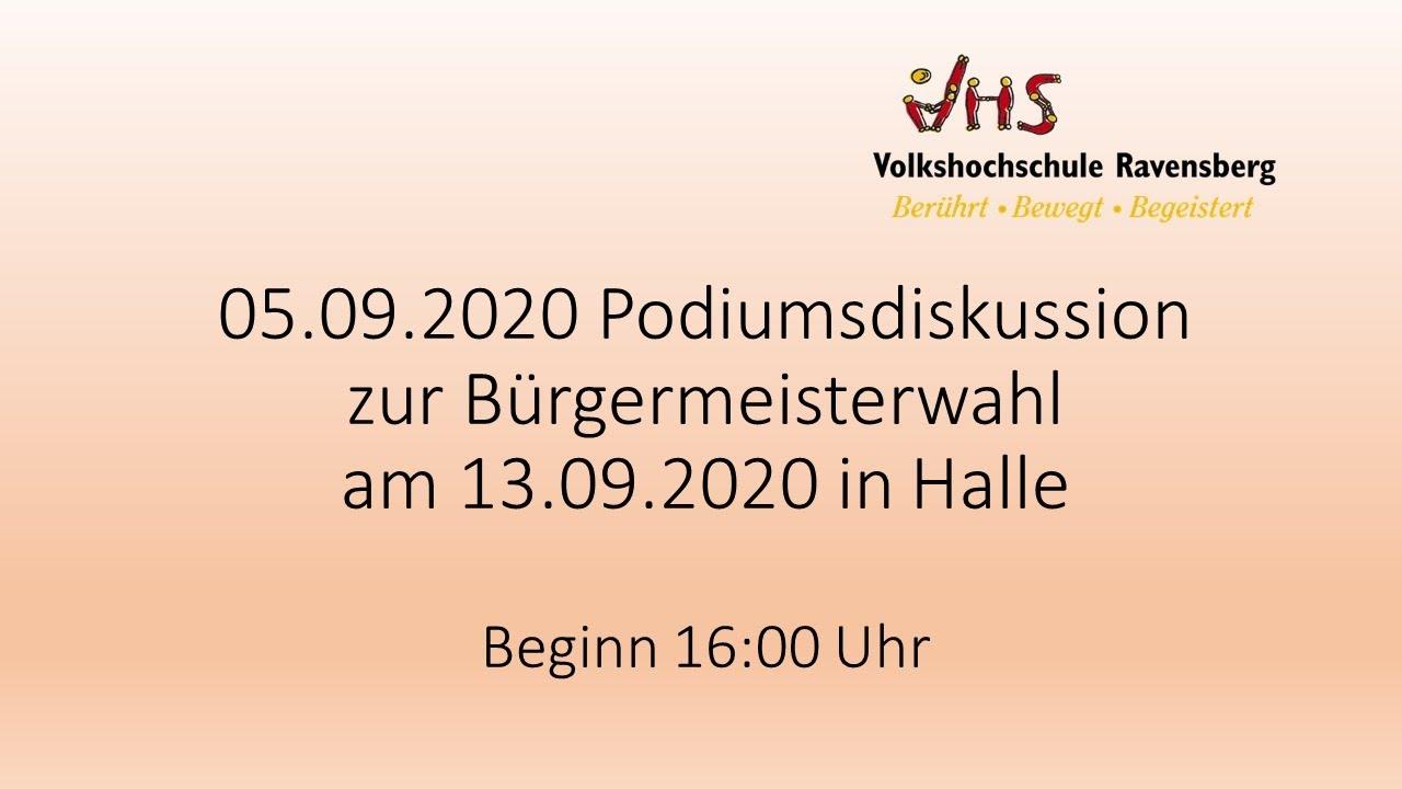 VHS - Podiumsdiskussion zur Bürgermeisterwahl am 13.09.2020 in Halle Westfalen
