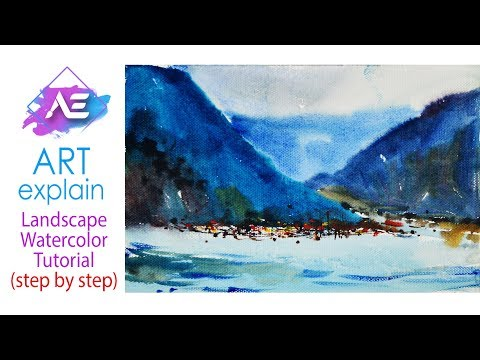 Hill river Watercolor Painting  Tutorial | How to paint a watercolor landscape | Art Explain