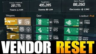 THE DIVISION - NICE VENDOR RESET | GOD ROLL WEAPONS, GEAR & GEAR MO...