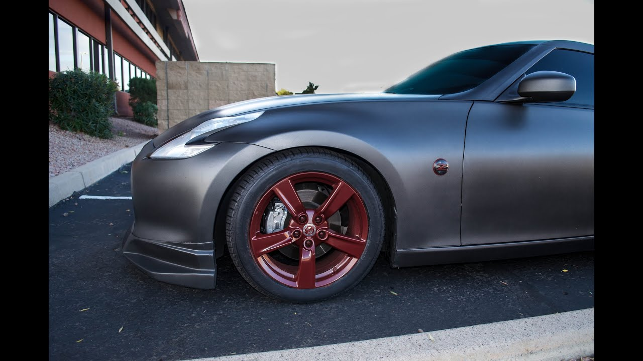 Black Car Gunmetal Wheels >> 370z Anthracite Plasti-dip w/Custom Blood Red Accents - YouTube