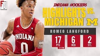 Romeo Langford Indiana vs Michigan - Highlights   1.6.19   17 Pts, 6 Rebounds