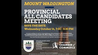 Mount Waddington All-Candidates Meeting, B.C. Election 2020. Hosted by the PMCC. Gilakas'la, Welcome