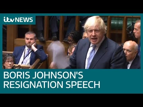 Boris Johnson's resignation speech accuses PM over delivering Brexit 'in name only' | ITV News