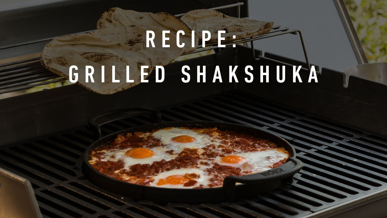 recipe shakshuka on the weber original gbs cast iron griddle youtube. Black Bedroom Furniture Sets. Home Design Ideas