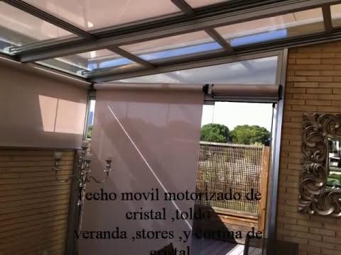 Techo movil motorizado de cristal toldo veranda y stores for Carriles de aluminio para toldos
