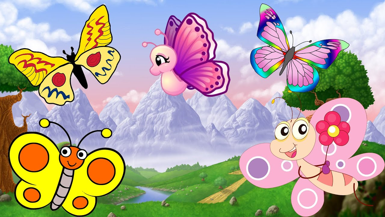 butterfly finger family nursery rhyme birds cartoon finger family rh youtube com cartoon butterfly images clip art butterfly cartoon pictures