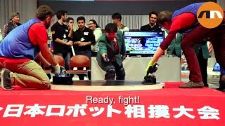 Teams from all over the world competed in the International Robot Sumo Tournament 2015 on December 13, 2015, in Tokyo, Japan. The event was held at the famous Ryogoku Sumo Hall. 14 winners of local ro