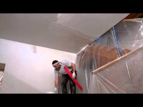 Процесс ремонта потолка (подготовка, шпаклёвка, покраска)