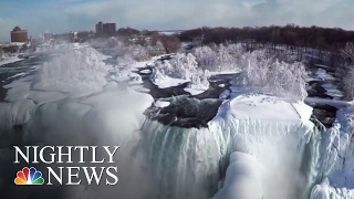 Drone Footage Of Frozen Niagara Falls | NBC Nightly News