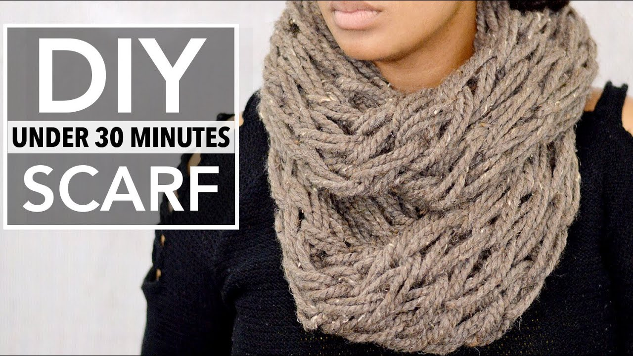 Easy Diy Infinity Scarf Arm Knitting Less Than 30 Minute Tutorial