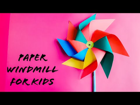How to make Paper Windmill for Kids - Spinning Windmill Making Tutorial (Pinwheel)