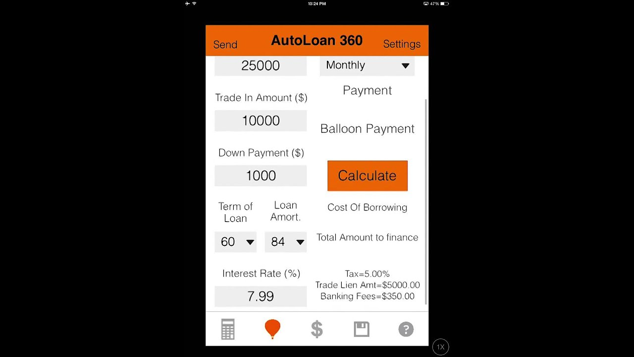 auto loan calculator 360 ios android app youtube