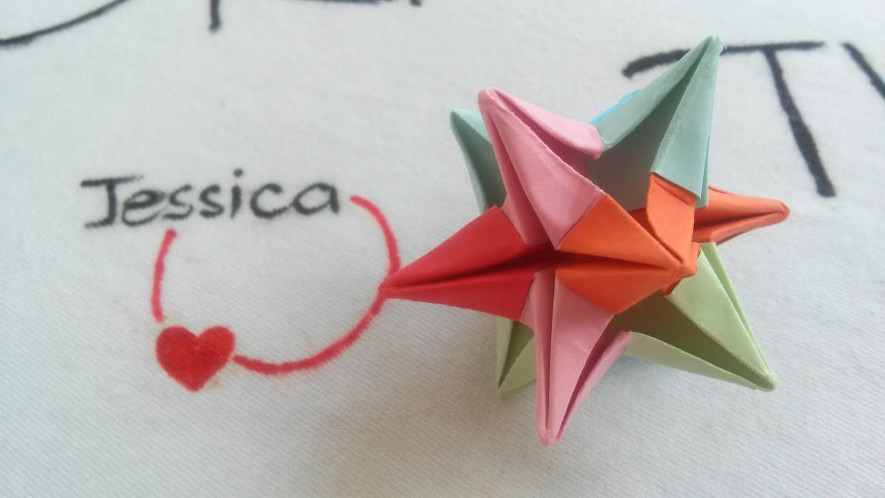 Origami easy origami 3d omega star youtube for How to make 3d paper stars easy