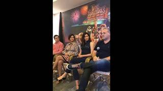 Selena Gomez, Andy Samberg, and Kathryn Hahn on Facebook live (interview)