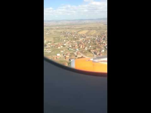 Flight from Basel-mulhouse to Pristina.Landing EasyJet A320