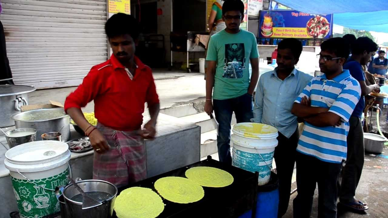 Street food in the making dosa in hyderabad viyoutube for Crystal 7 cuisine hyderabad