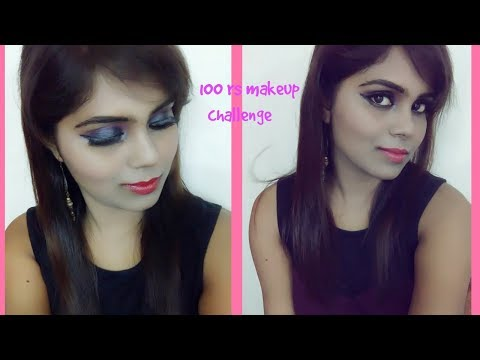 Full face of makeup challenge using products under 100 rs.(Black Smokey eyes) & GIVEAWAY(OPEN)