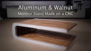 Aluminum and Walnut Monitor Stand - #147