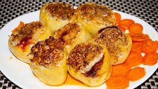 Фаршированный перец с  мясом и рисом в духовке. Простой рецепт перцев с мясным фаршем ( за 50 минут)