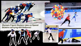 Olympic Figure Skaters take on Speed Skaters carrying 400 Balloons