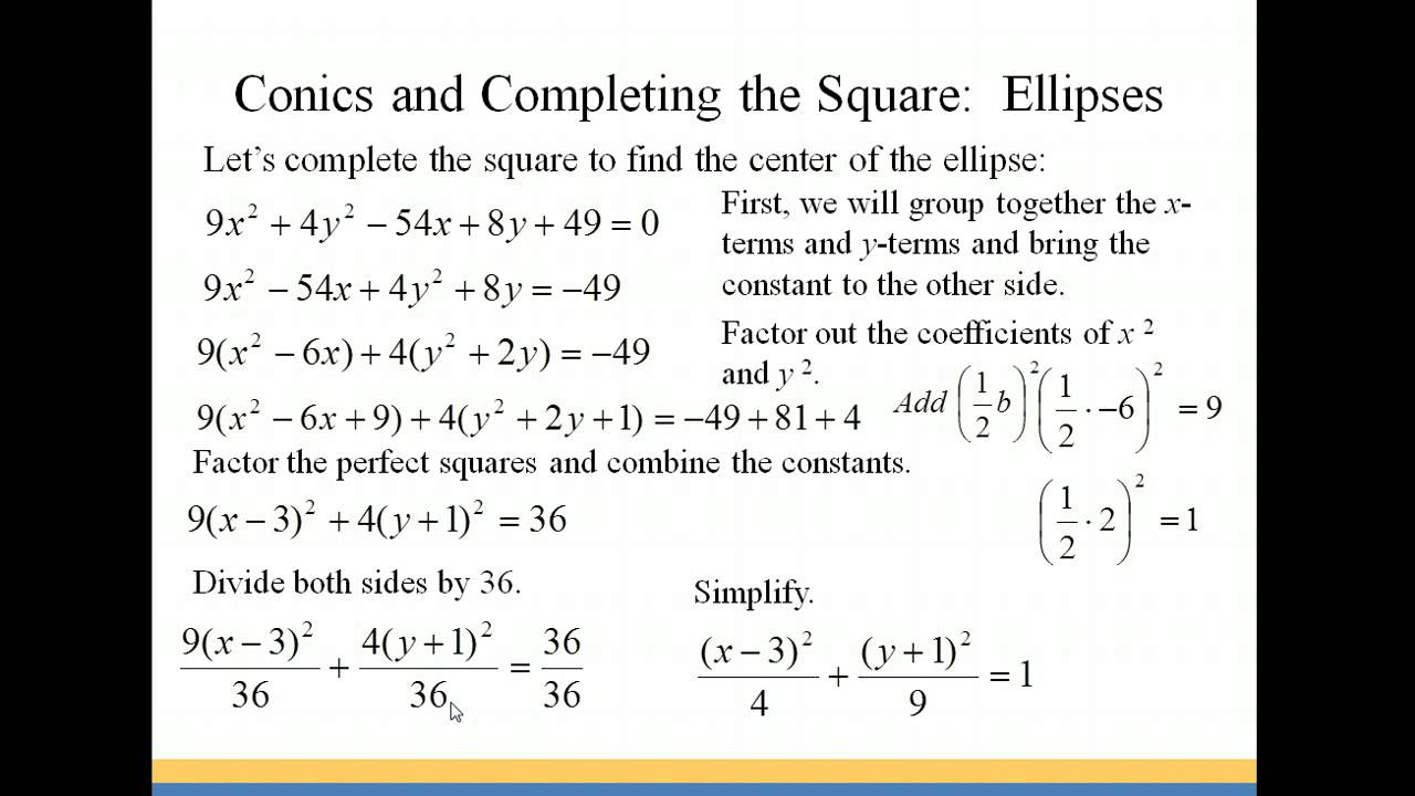 Conics Andpleting The Square: Ellipses
