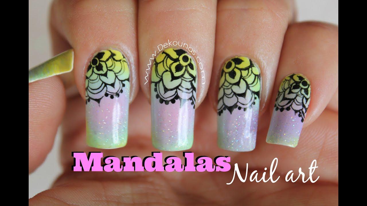 Decoración de uñas Mandalas sobre degradado , Mandala Ombre nail art