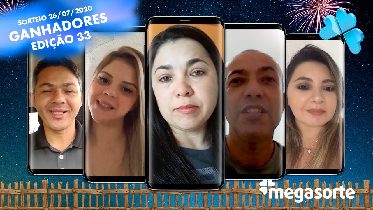 Ganhadores Mega Prêmios Mensais Edição 33 - Mega Sorte - 26/07/2020