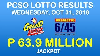 Lotto Result Today October 31 2018 PCSO (Grand Lotto 6/55, Mega Lotto 6/45 results)