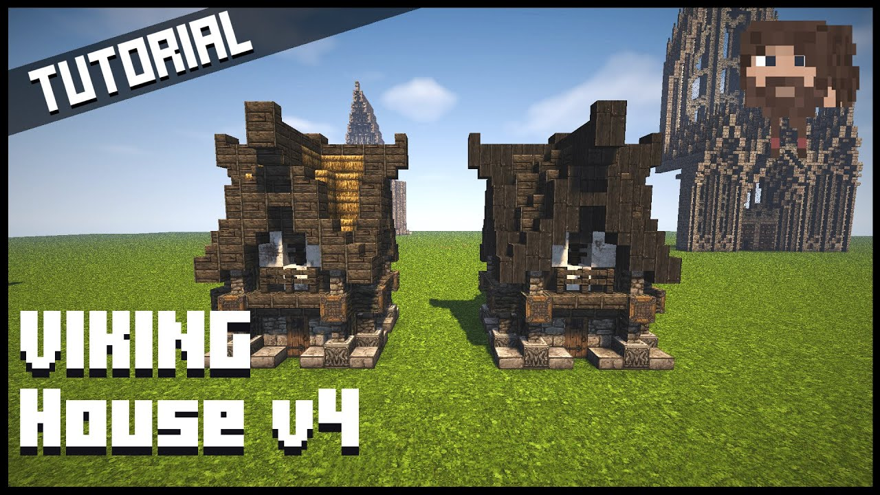 Minecraft tutorial vikingehus viking house v4 youtube House build