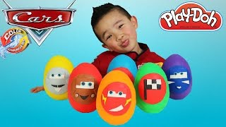 Disney Cars Color Changers Play-Doh Surprise Eggs Opening Fun Ckn Toys Lightning McQueen Mater