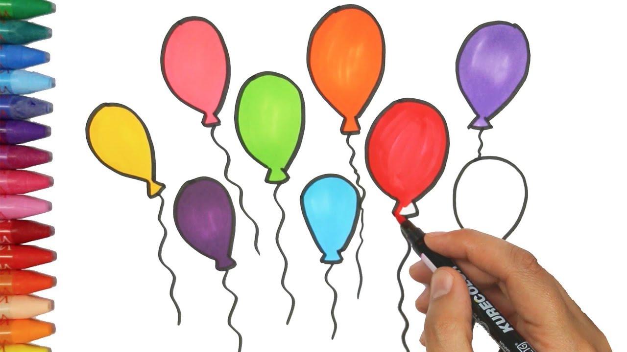 Dibujar Globos | Cómo dibujar y colorear los para niños - YouTube