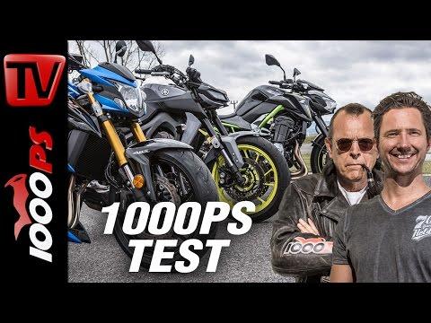 1000PS Test - Nakedbike Vergleich 2017 - GSX-S 750 vs. MT-09 vs. Z900