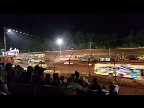 School bus races part 1 of 3 5/29/17 Flomaton Speedway