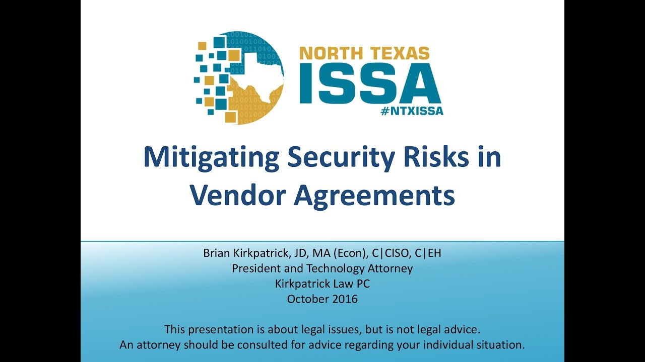 Mitigating Security Risks In Vendor Agreements Youtube