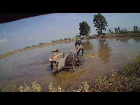 Do The Water Drying Ditch In Ricefield Thailand With Kubota Light Tractor
