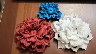 Объёмный цветок крючком, видео: Crochet flower pattern.