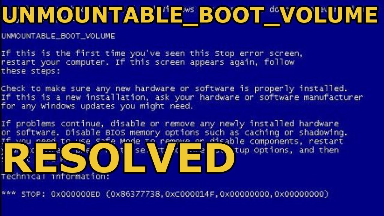 windows stopcode unmountable boot volume